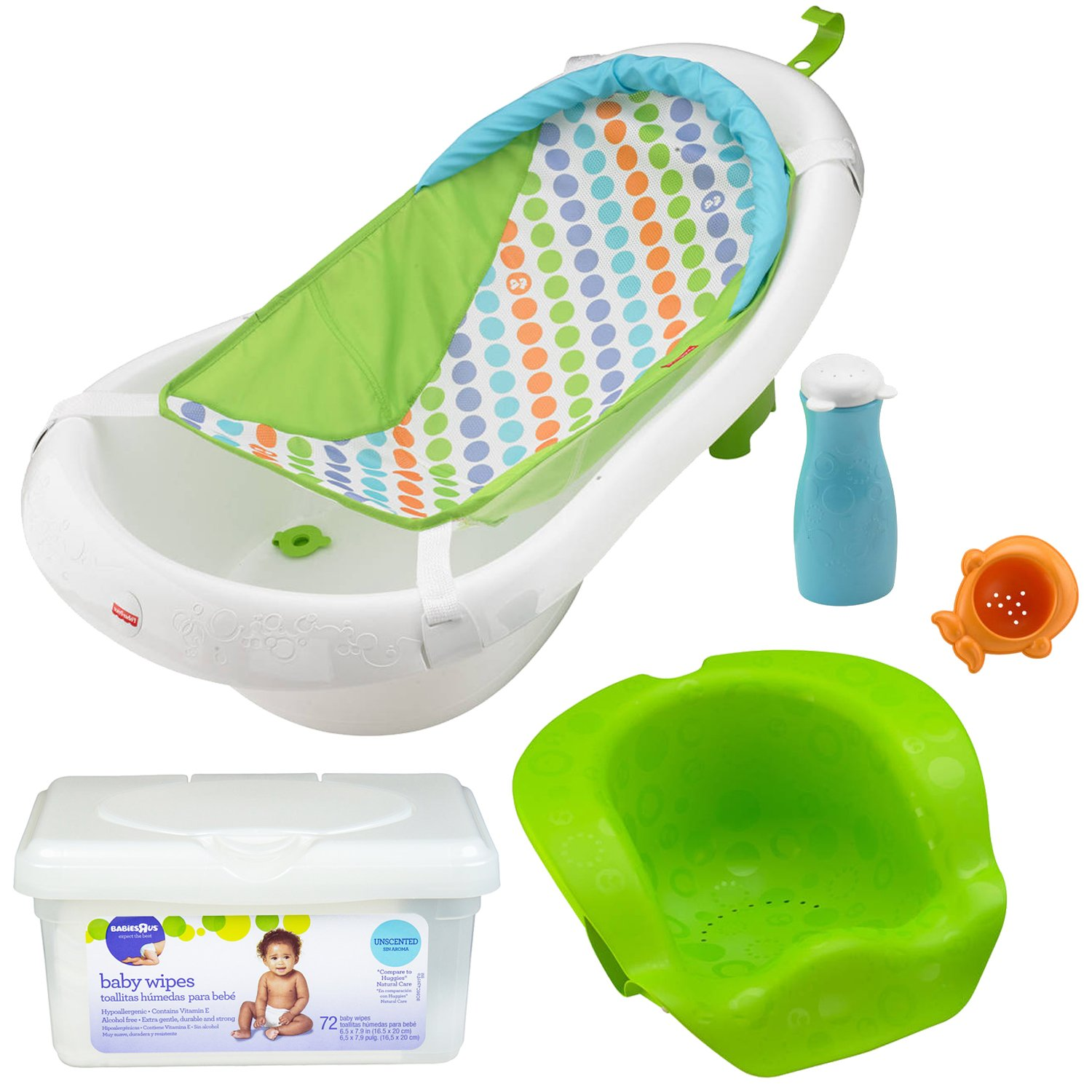 Amazon.com : Fisher Price Infant to Toddler 4-in-1 Sling Sit-Me-Up and Grow-with-Me Bathing Shower Tub for Girls with Baby Wipes : Baby