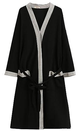 d01d92f8bf Men s Waffle Bathrobe Cotton Kimono Robe Spa Bathrobe Soft Knee Length  Sleepwear with Pockets (Black