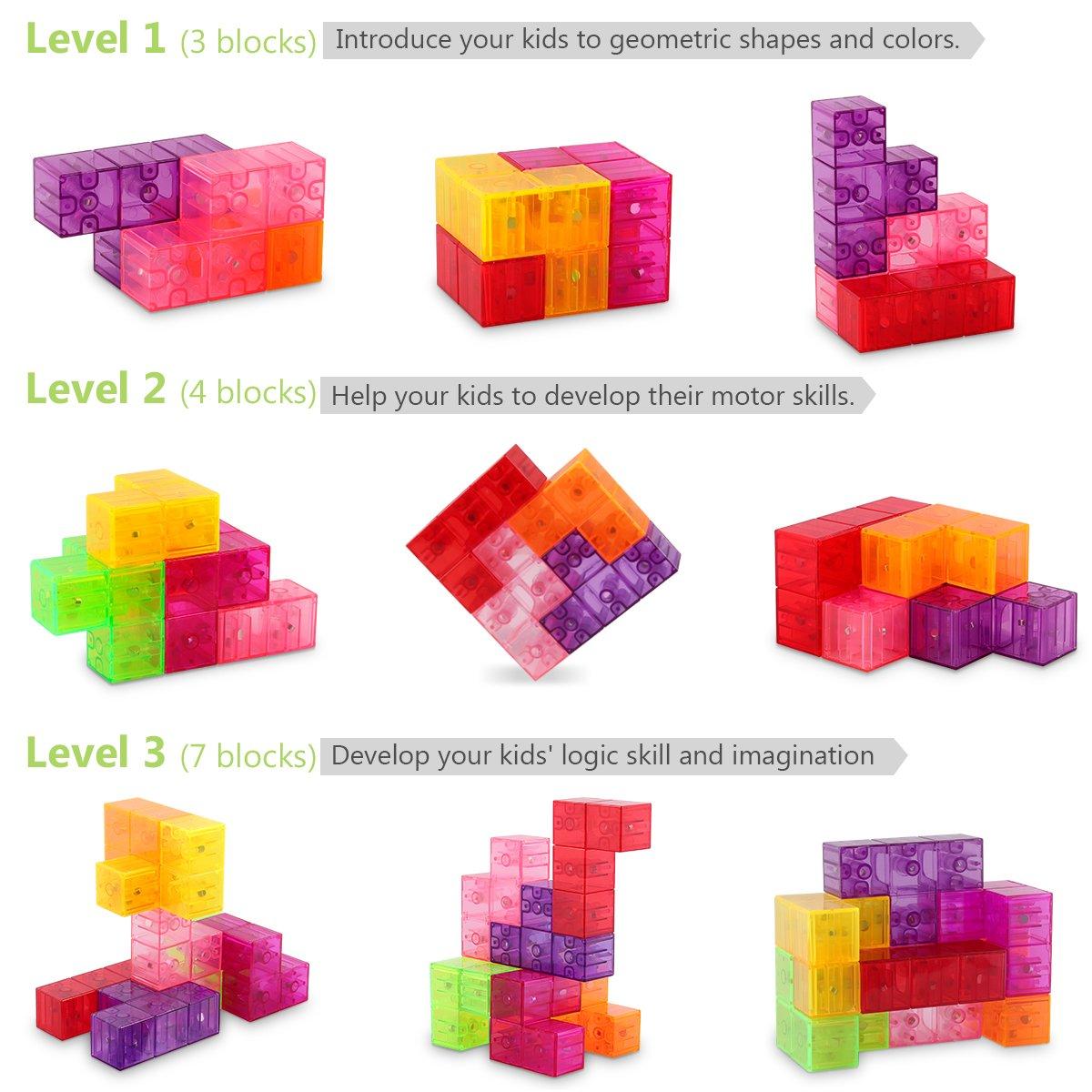 D-FantiX Magnetic Building Blocks Tetris Puzzle Cube 7pcs/Set Square 3D Brain Teaser Puzzle Magnetic Tiles Stress Relief Toy Games for Kids ( Cube Size 2.36in) by D-FantiX (Image #2)