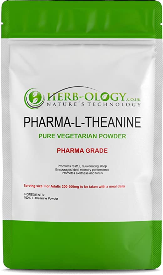 Pharma L-Theanine 100% Pure Powder - 100g | Calm & Relaxation | Nootropic  Supplement/Cognitive Enhancer - Herb-ology 100% Money Back Guarantee (100g)