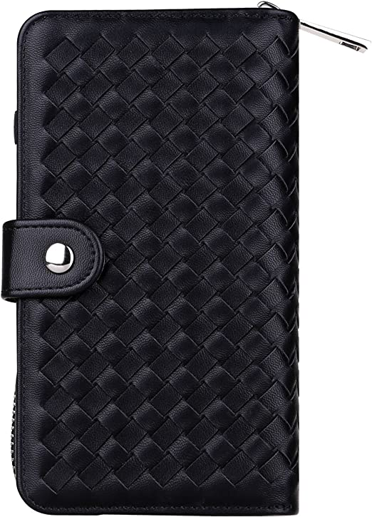 Card Slots for iPhone 7 // iPhone 8 4.7-inches Version Woven Skin Leather Zipper Wallet Detachable // Separable Magnetic Back Shell Cover // Hand Strap Urvoix iPhone7 // iPhone 8 Case Black 4327093078