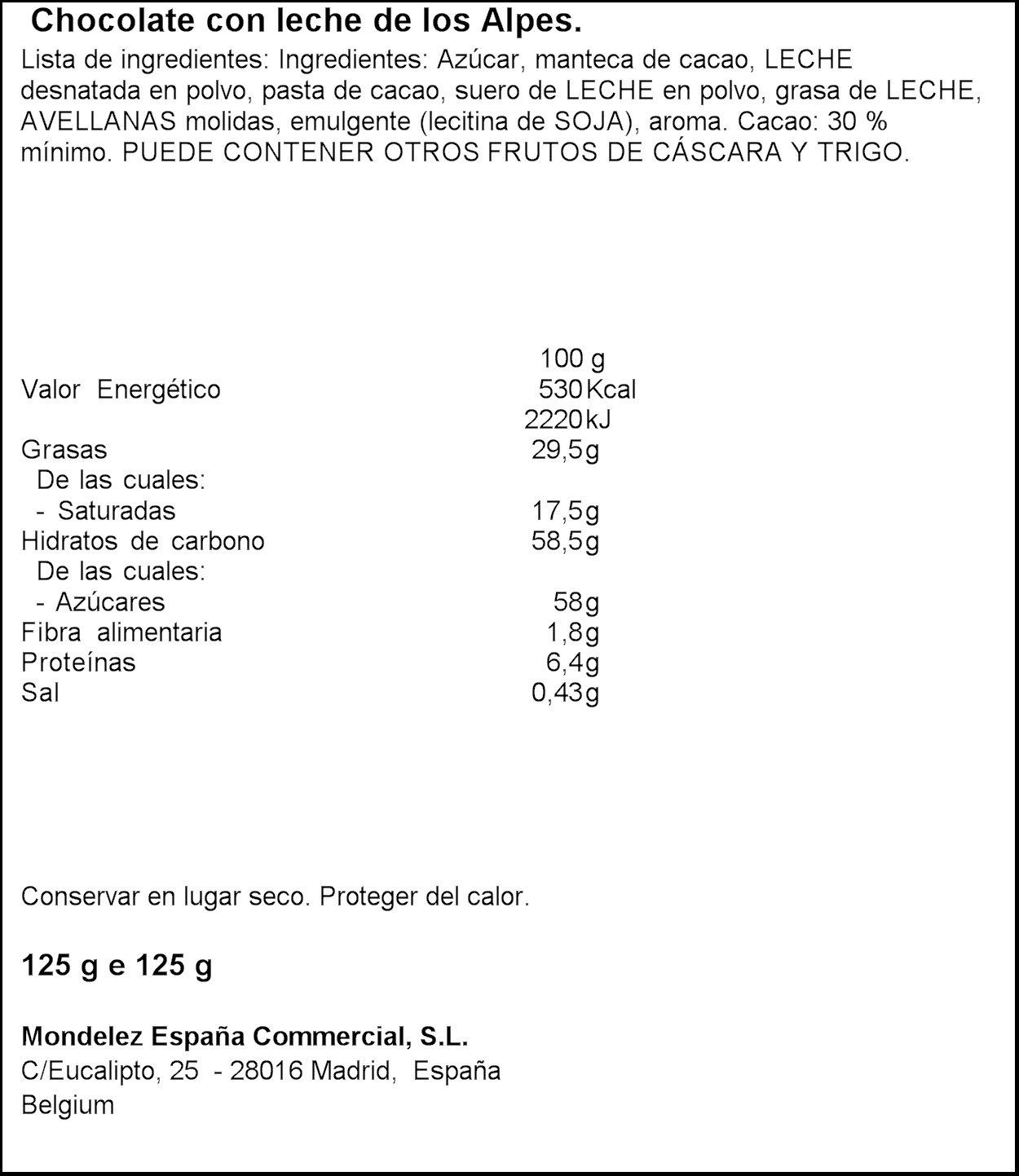 Milka - Tableta De Chocolate Leche - 125 g