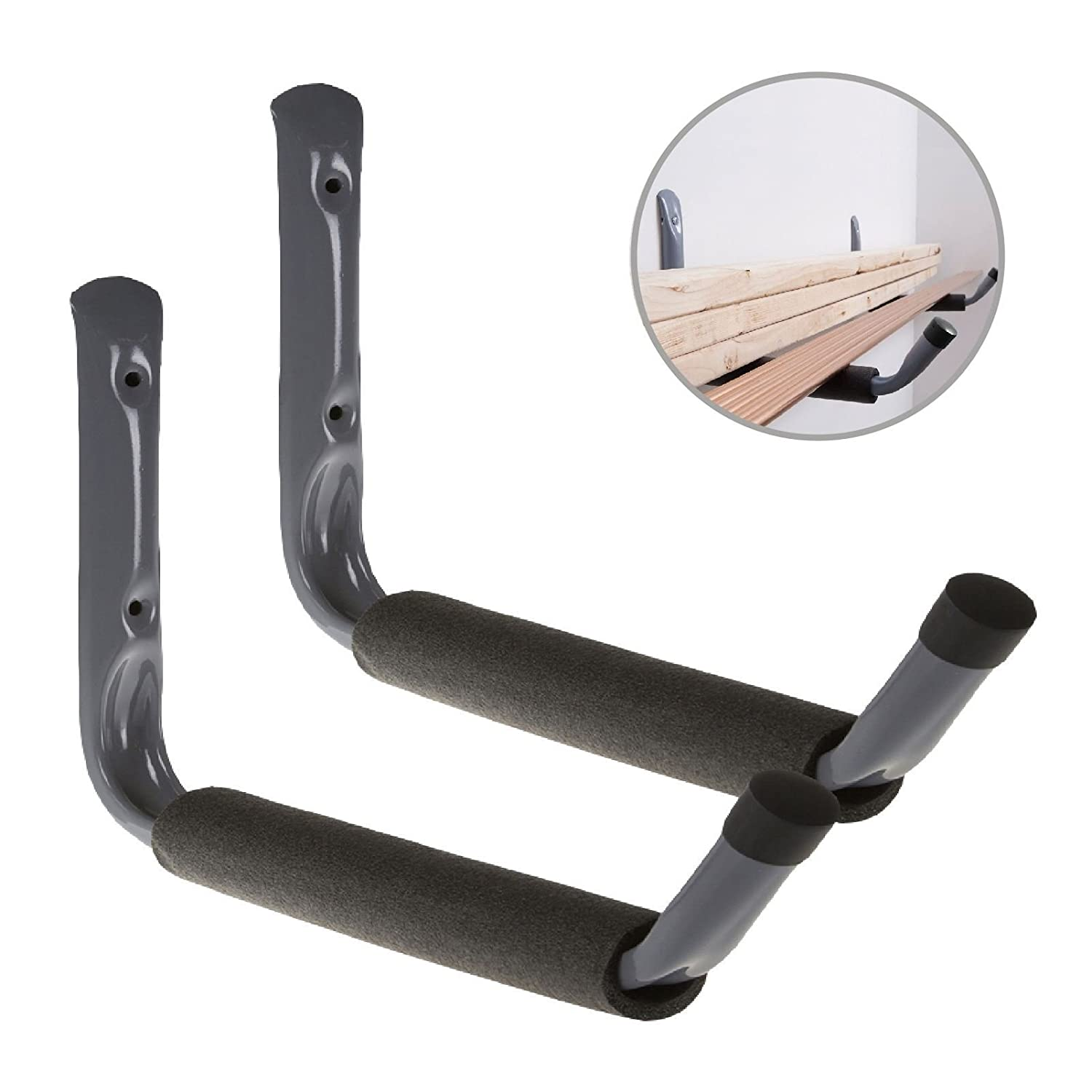 2 x Giant Heavy Duty Padded Storage Hooks 400mm Wall Mounted, Ladders Bikes Garages H.Smart