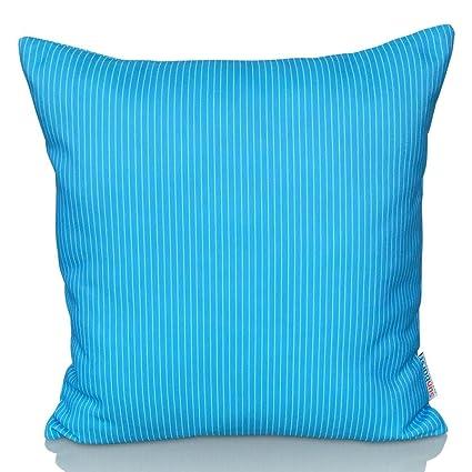 Cojín Decorativo Sunburst Outdoor Living LIGHT BLUE STRIPE 50cm x 50cm (Con Borde) Funda Cojín para Sillón, Sofá, Cama o Patio – Solo Funda, Sin ...