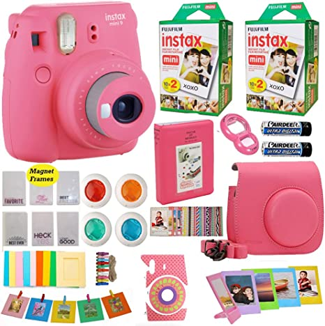 Fujifilm Instax Mini 8 Instant Camera + Fuji Instax película (40 hojas) incluye funda para cámara + marcos + álbum de fotos + 4 Filtros de colores y más Top accesorios Bundle: Amazon.es: Electrónica
