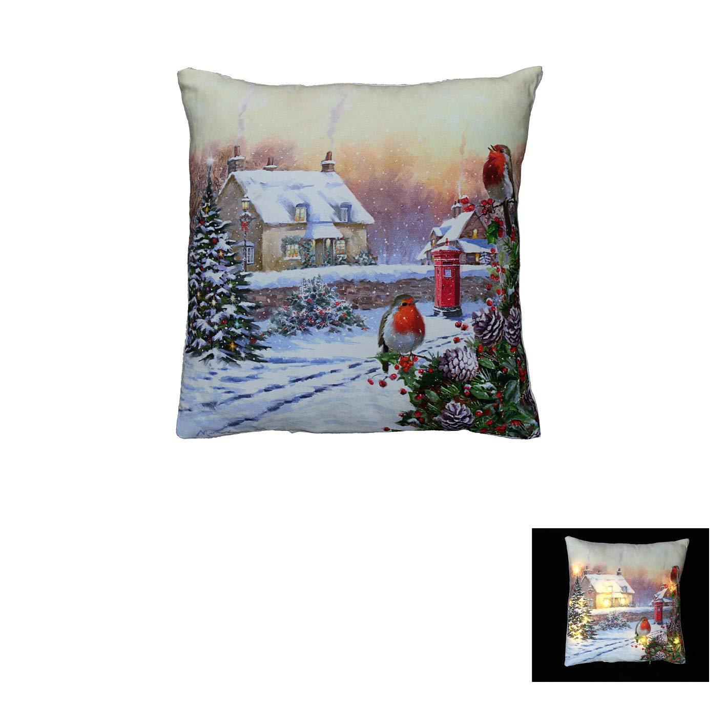 Christmas Robin Winter Snow Scene Light up 12 LED Cushion and Pad 40cm x 40cm The Good life
