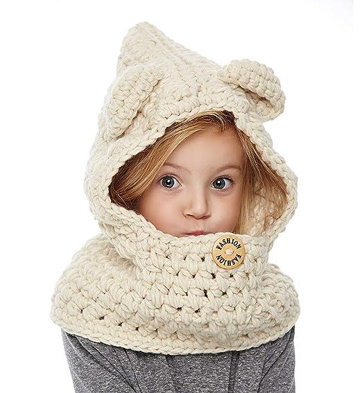 612202ac46e Yanekop Girl s Winter Animal Hats And Scarves Set Warm Hooded Scarf Best  Gifts(Beige Bear
