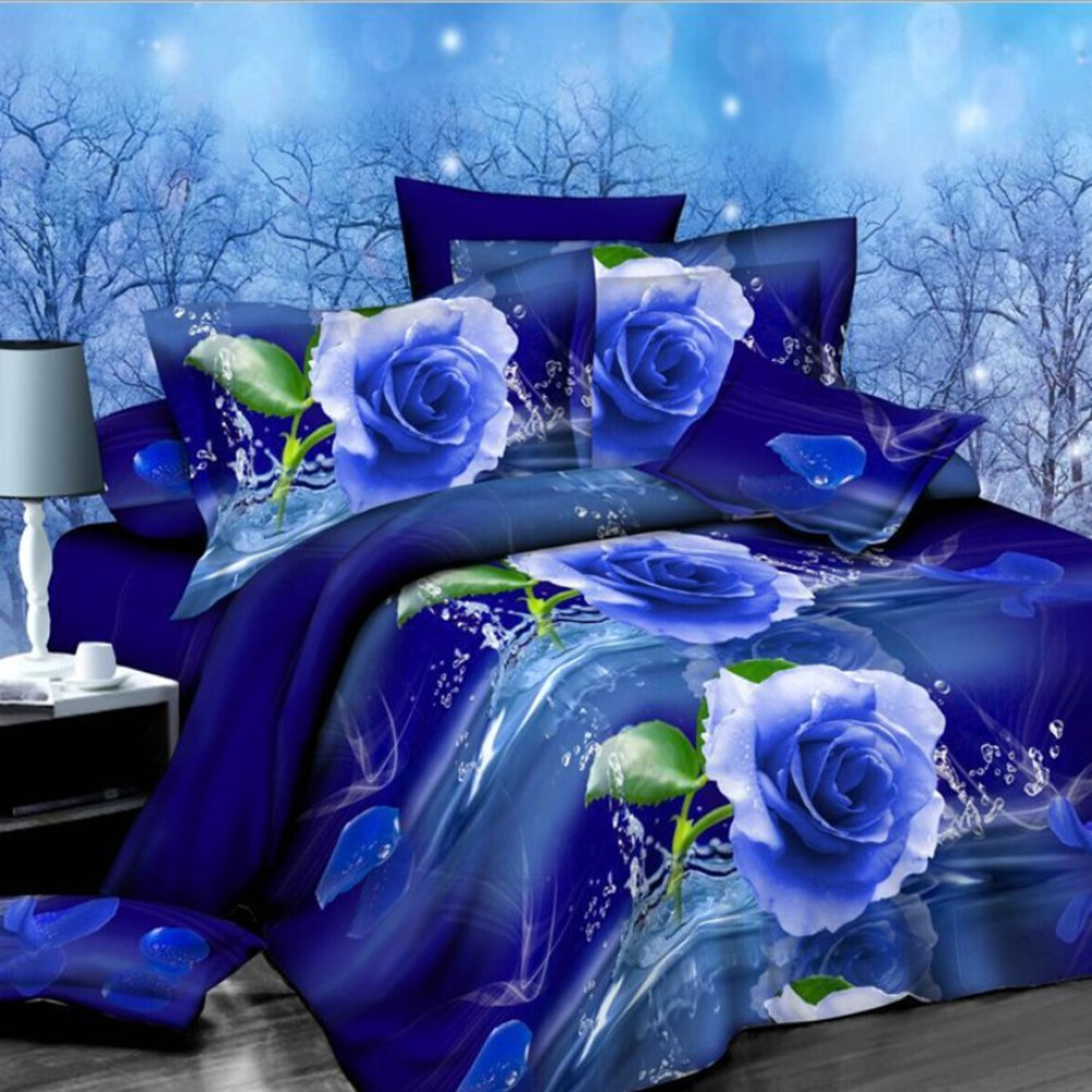 4PCS 3D Blue Rose Floral Prints Duvet Cover Set For Queen Size