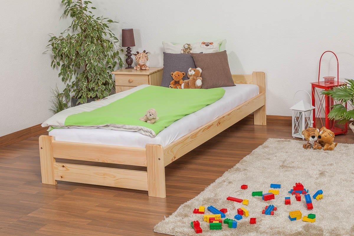 Kinderbett/Jugendbett Kiefer Vollholz massiv natur A9, inkl. Lattenrost - Abmessung 90 x 200 cm