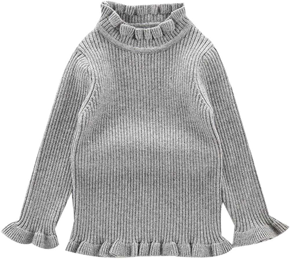 KiKibaby Toddler Baby Girl Long Sleeve Knit Sweater High Neck Ruflle Fine Knit Sweatshirt Pullover