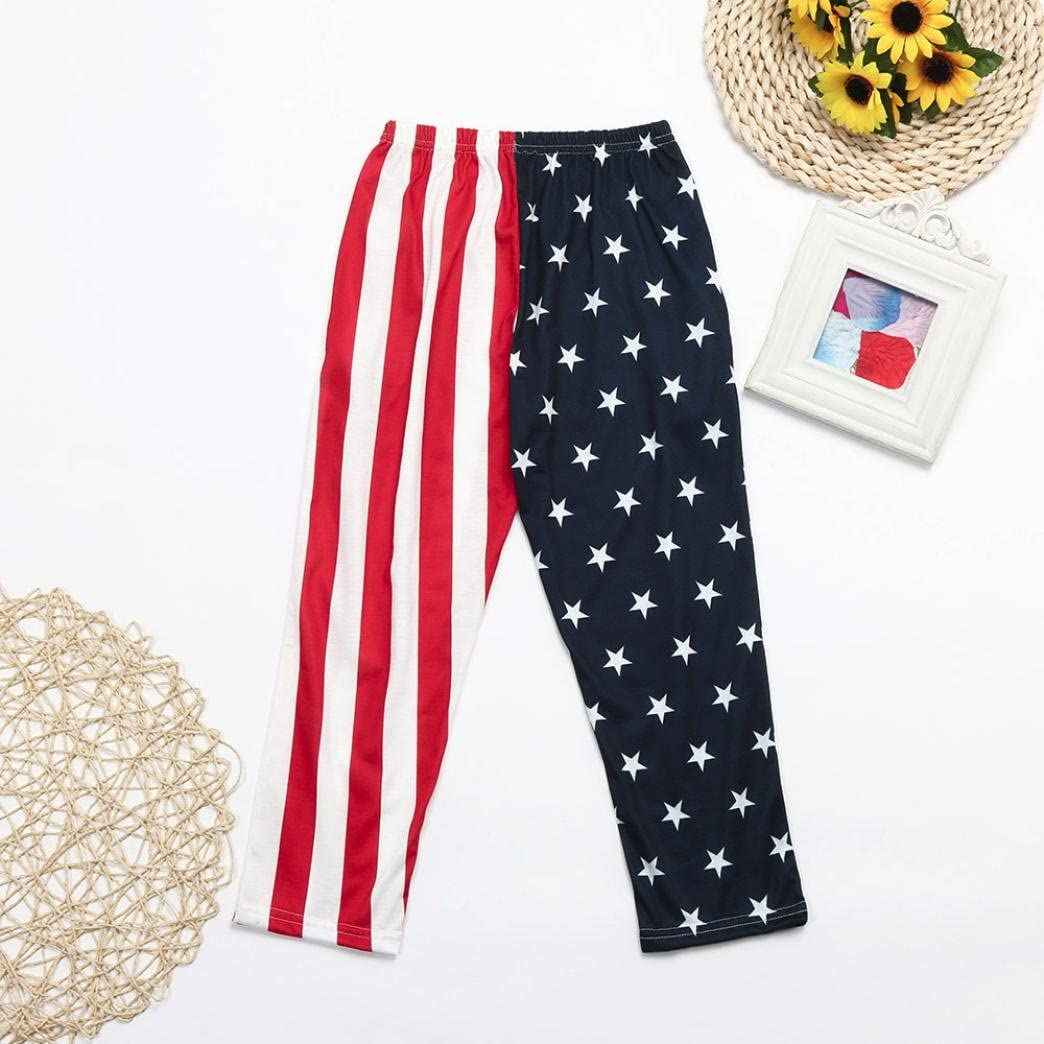 Toddler Baby Boys Kids 4th of July Baggy Pants Star Striped Trousers Clothes 2-12 T