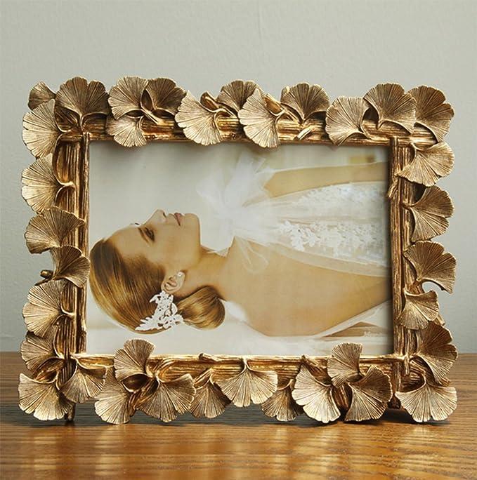 liuhoue Portaretrato Creativo Vintage,Ginkgo biloba Hojas Portafotos de Resina Marco de la decoración del hogar-A 10.2x15.3cm(4x6inch): Amazon.es: Hogar