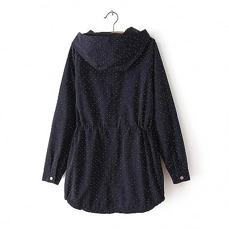 Amazon.com: NEW Trench Coats Autumn Winter Women Cute Polka Dots Hooded Trench Abrigos Chaquetas Fashion Plus Size XXXL Coat: Clothing