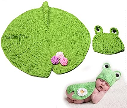 Traje de punto de ganchillo para bebé fotos rana + manta ...
