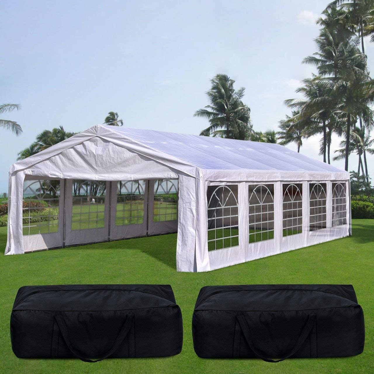 Quictent 20 x32 Upgraded Galvanized Heavy Duty Gazebo Party Tent Wedding Canopy Carport Shelter with Carry Bags