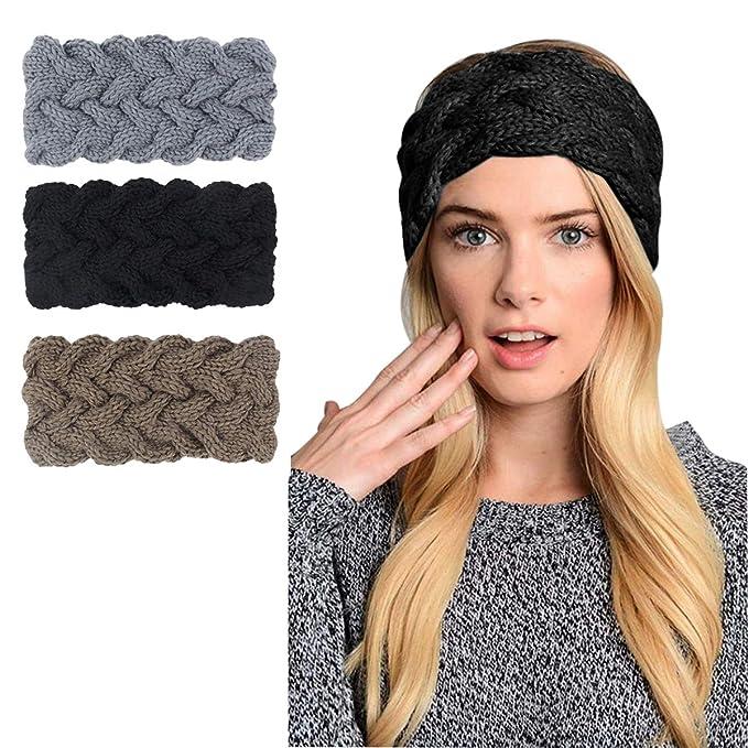 448e4de3ce4ff6 KQueenStar Winter Gestrickte Stirnband - Häkeln Headwrap Häkeln Stirnband  Haarband Headwrap Hut Cap Ohr wärmer (