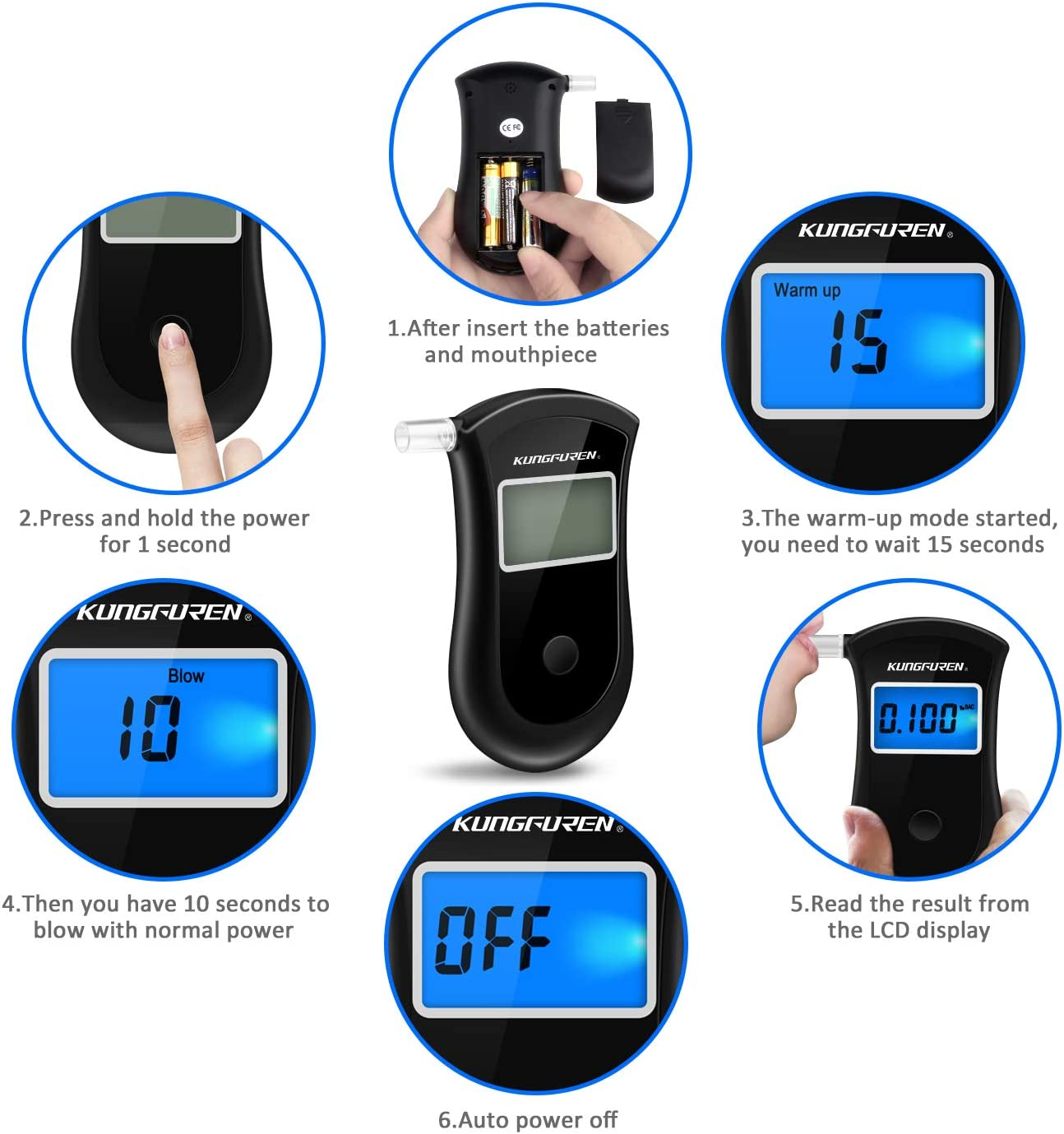 kungfuren Breathalysers Professional Alcohol Breathalyzer Tester Portable Breathalyzer Highly-Accurate Result Fast Respond Speed Alcohol Breathalyser with LED Screen and 5PC Mouthpieces