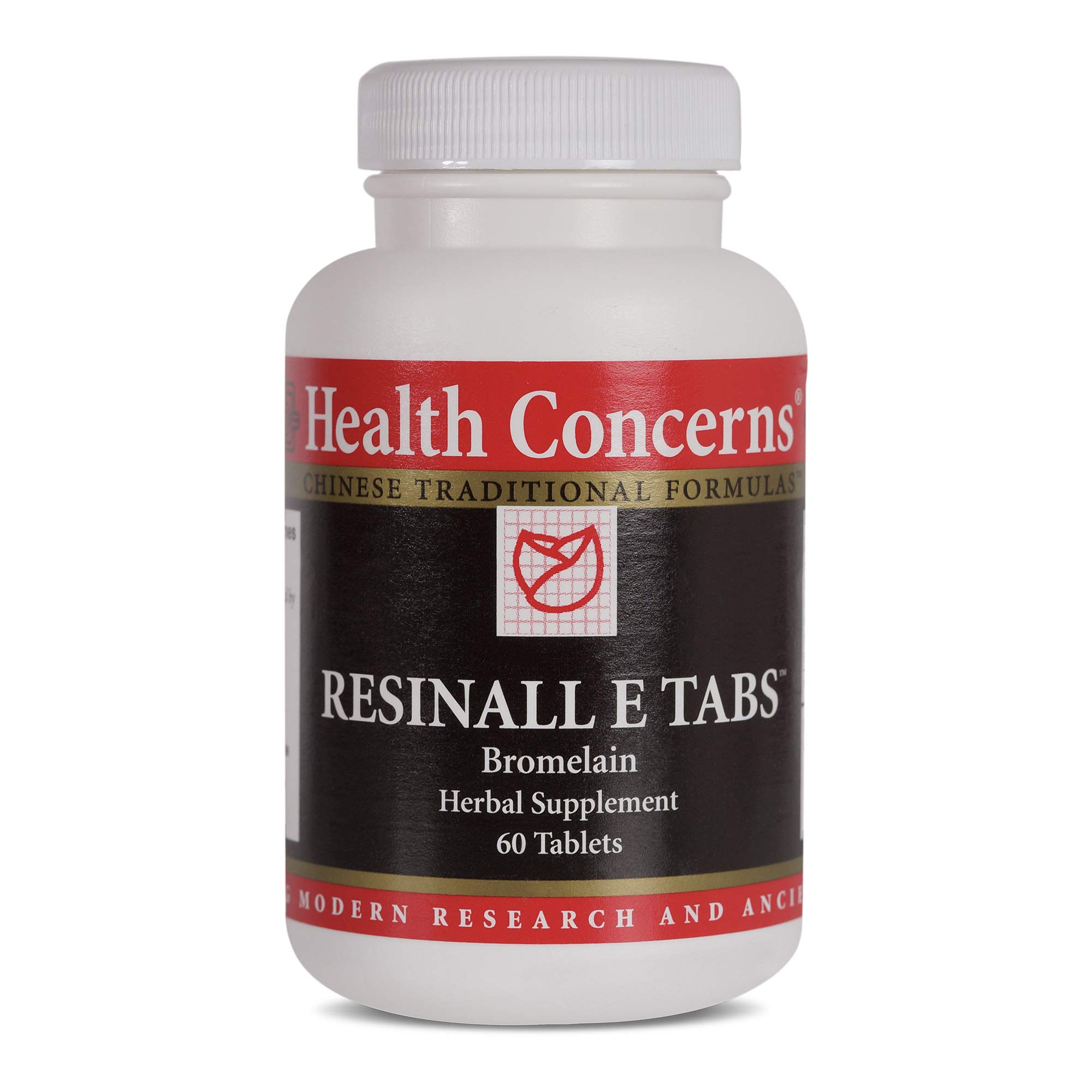 Health Concerns - Resinall E Tabs - Bromelain Chinese Herbal Supplement - Pain and Swelling Relief - with Bromelain - 60 Count