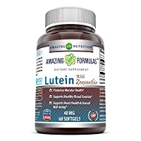 Amazing Nutrition Amazing Formulas Lutein 40 mg with Zeaxanthin 1600 mcg- 60 Softgels- Supports Eye Health & Healthy Vision