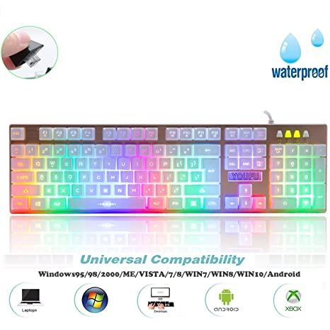 Teclado gaming para JuegosYFeel K2 Retroiluminado LED Teclado de Iluminación LED Mecánica Feel Gaming Keyboard con