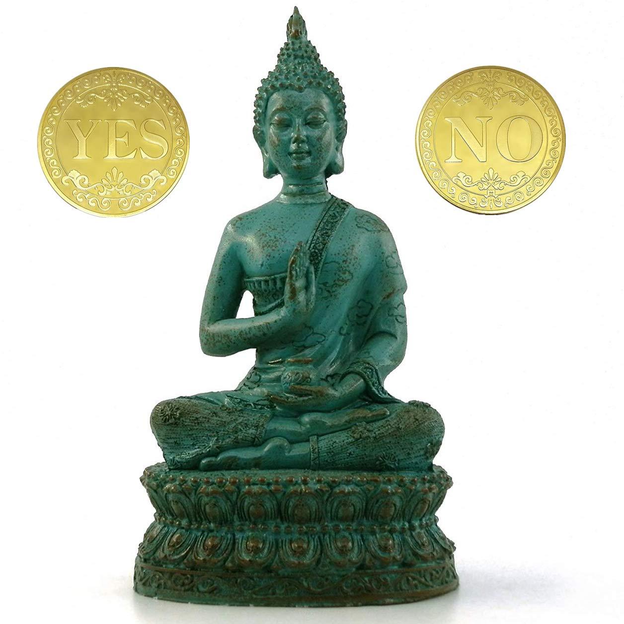 "DBassinger Antique Buddha Statue for Home Decor,7"" Thai Shakyamuni Sitting Statue Resin with Bronze Finish, Decoration for Meditation Altar (Verdigris)"