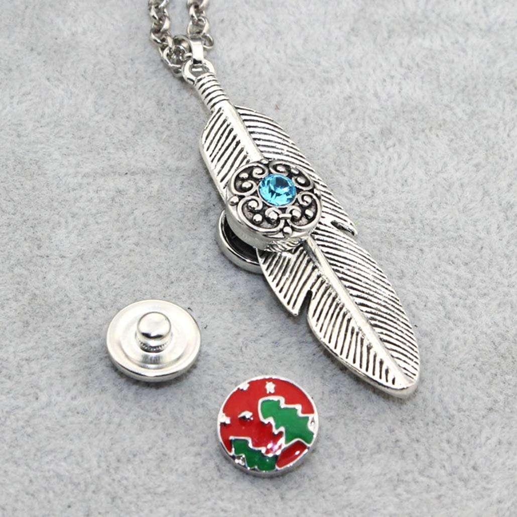 Feather Snap Button Pendant Necklace Fit 12mm Buttons Women Charm Fashion Jewelry