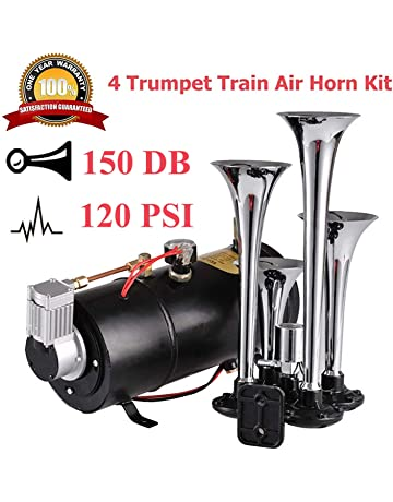 Aceshin 150 dB 4 Trumpet Train Air Horn with 12V 120 PSI Compressor for Truck Car