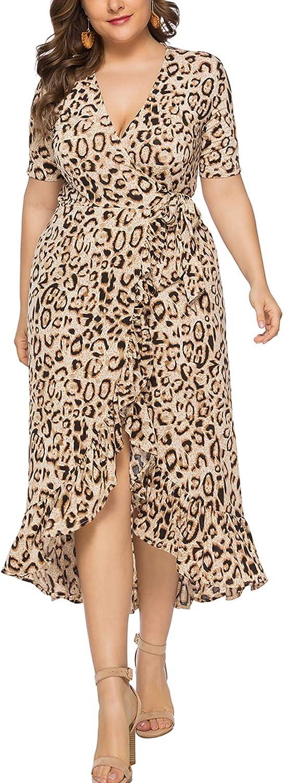 Eternatastic Womens Leopard Printed Wrap Dress Plus Size Short Sleeve Dresses