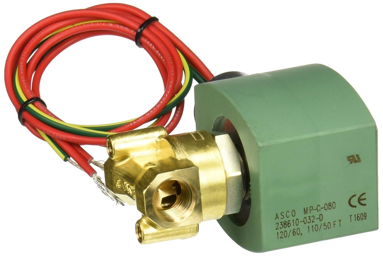 36 psi Maximum Air Operating Pressure Nitrile Butylene Sealing ASCO 8262H090-120//60,110//50 Brass Body Direct Acting General Service Solenoid Valve 2-Way Normally Closed 21994 9//32 Orifi 1//4 Pipe Size 9//32 Orifi ASCO Valve Inc 1//4 Pipe Size