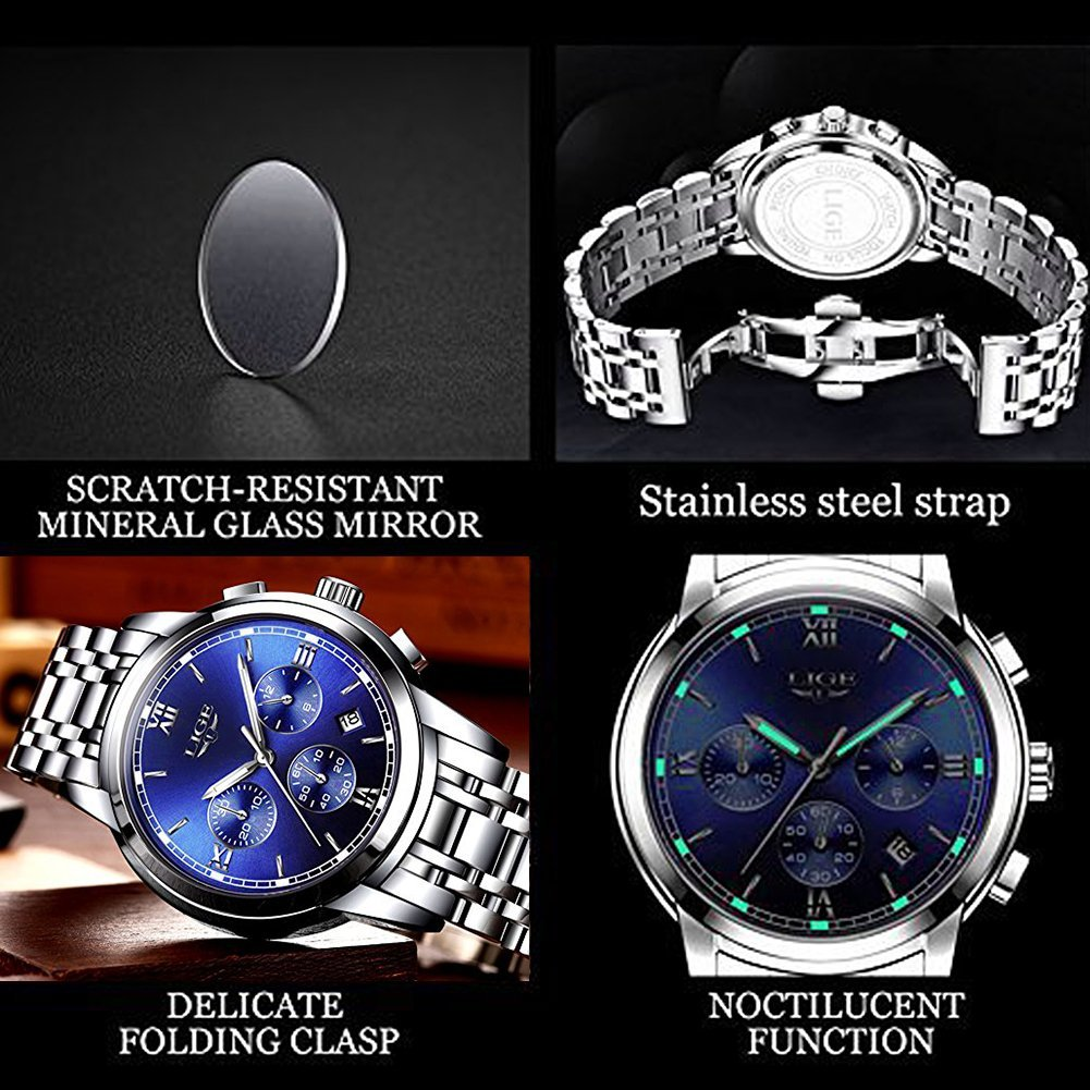 Men's Watches,Stainless Steel Band Waterproof Quartz Watch, LIGE Luxury Business Analog Chronograph Date Wrist Watch by LIGE (Image #5)