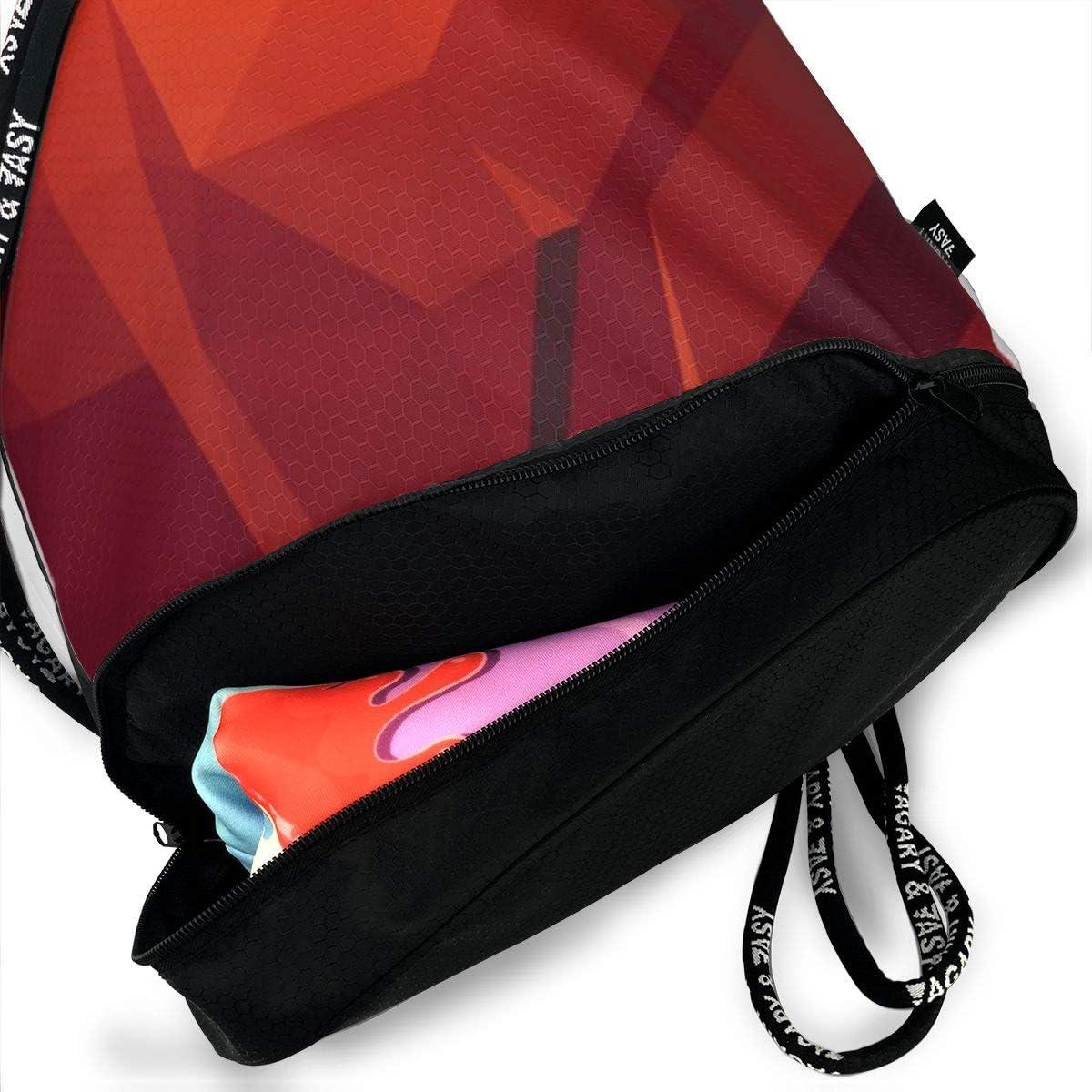 GymSack Drawstring Bag Sackpack Red Pattern Sport Cinch Pack Simple Bundle Pocke Backpack For Men Women