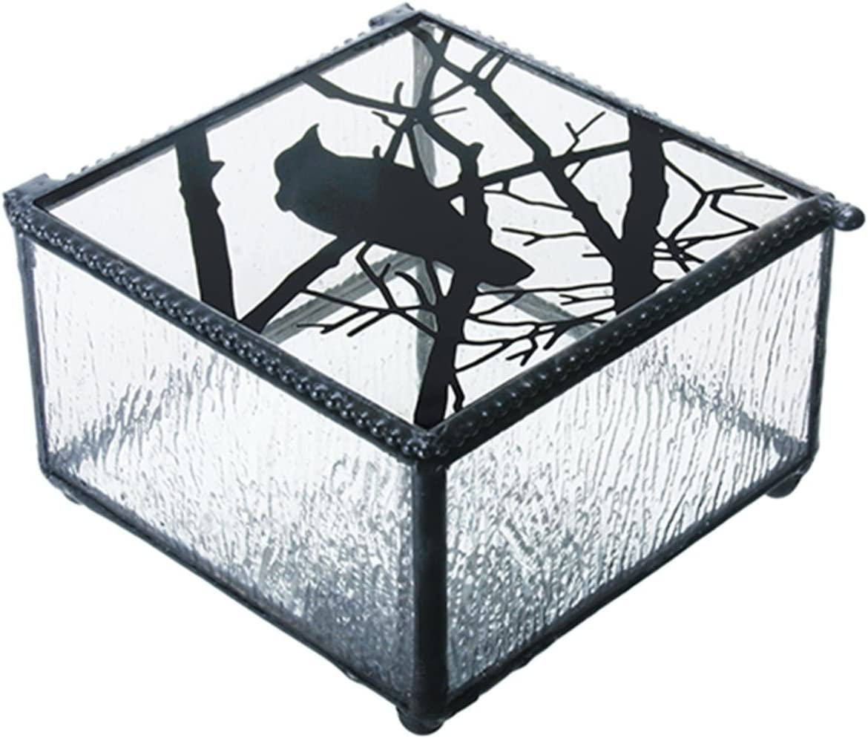 "Summit 4/""L 4/""W Raven on Branch Clear Glass Decoration Novelty Trinket Box"