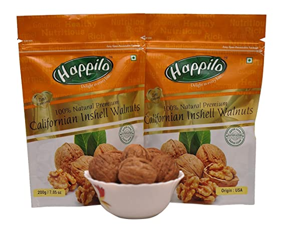 Happilo�100% Natural Premium Californian in Shell Walnuts, 200g (Pack of 2)