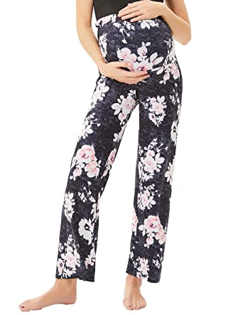 72ee8395fe365 Women's Maternity Wide Comfy Palazzo Lounge Pants Stretch Pregnancy Trousers