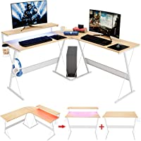 "Bestier 55.2"" Gaming L-Shape Computer Desk w/RGB Led Strip Light Modern Corner PC Desk Home Office Study Workstation…"