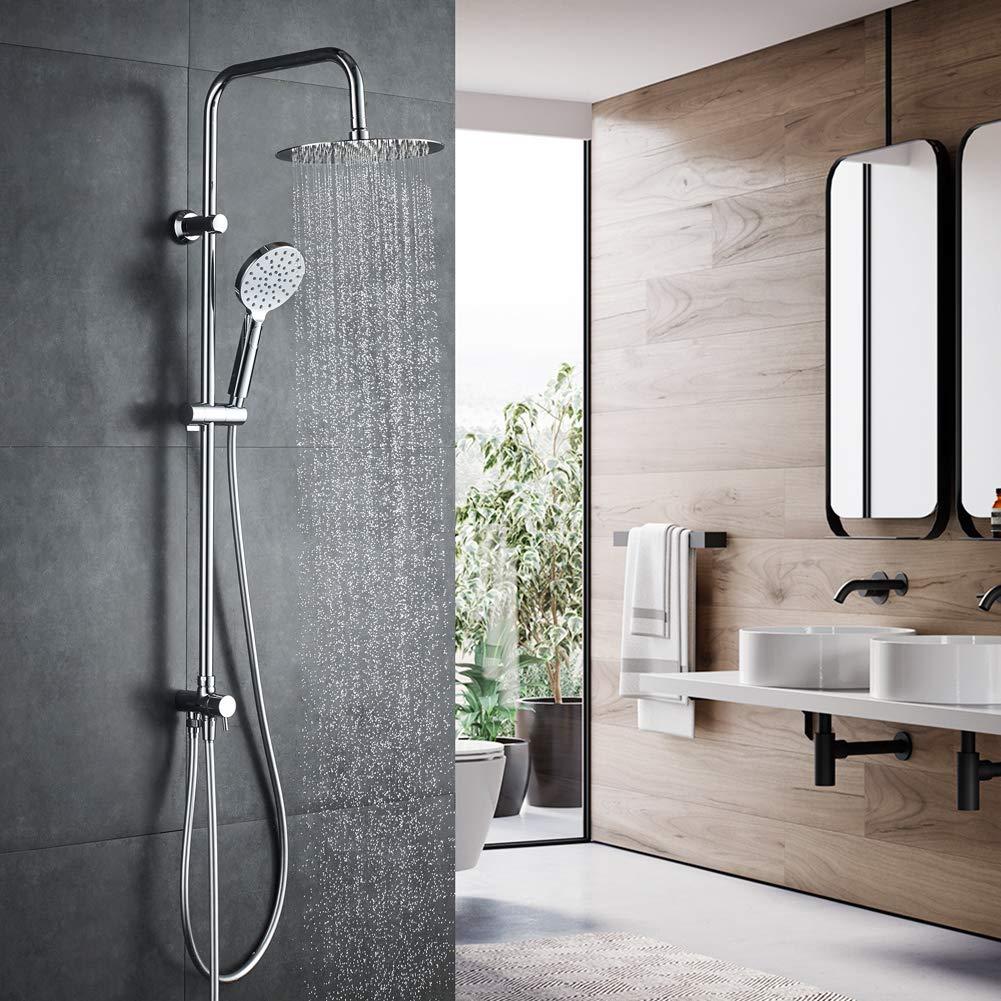 Juego de ducha redondo con ducha de mano de 3 funciones Cromo manguera de ducha y soporte GRIFEMA G7005 -COLUMNAS Columna de ducha conectable a grifo con inversor 1//2 pulgada