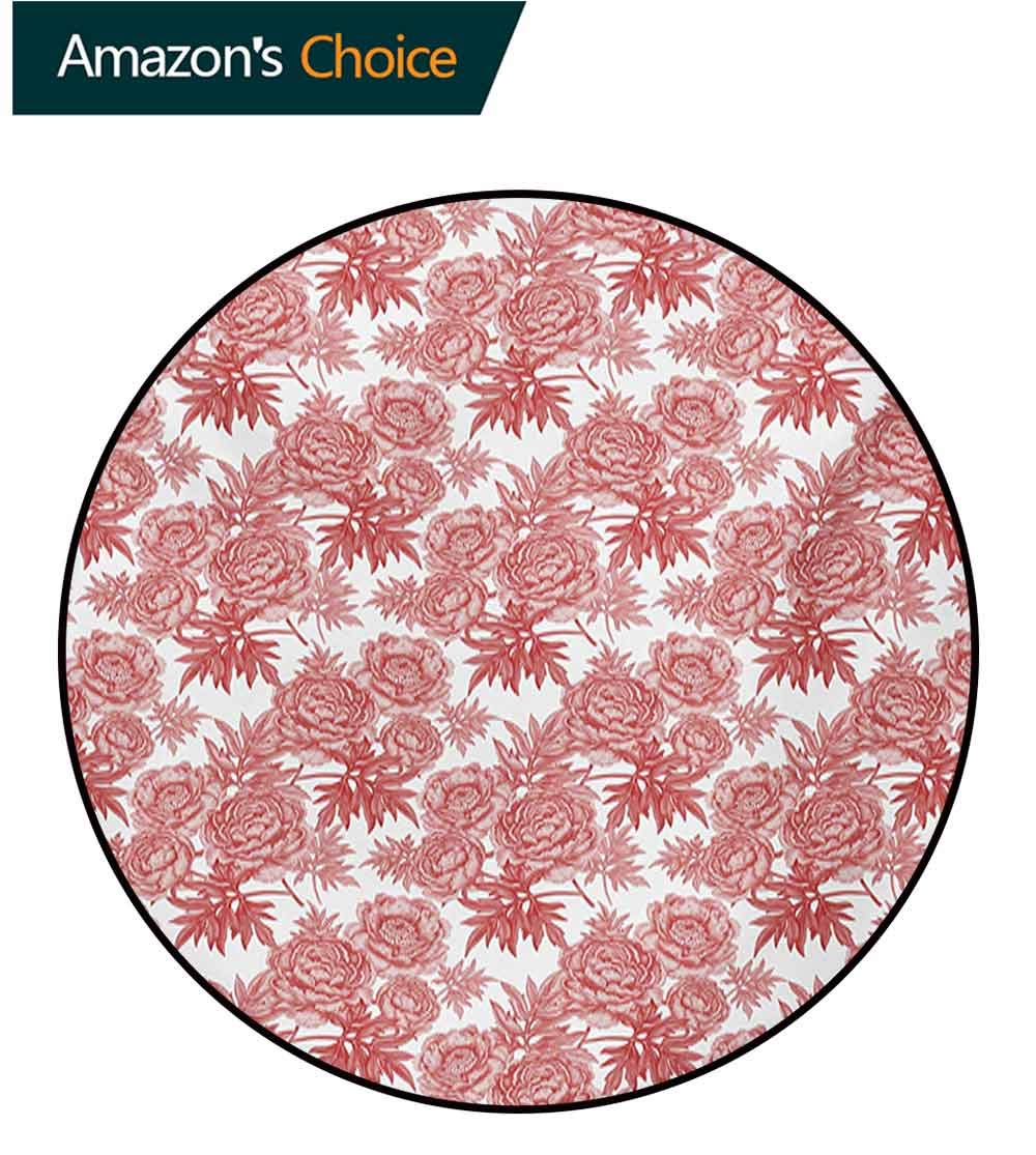Victorian Modern Machine Washable Round Bath Mat,Vibrant Vivid Color Garden Flower and Peonies Bouquet Image Old England Style Non-Slip Living Room Soft Floor Mat,Diameter-39 Inch