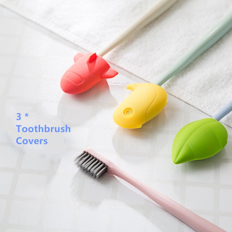 sciuU Botella Viajes, Dibujos Animados, 3 Cubiertas para cepillo de dientes + 4 Botellas Viaje Silicona Recargables Anti-fugas con Ventosa para Champú, ...