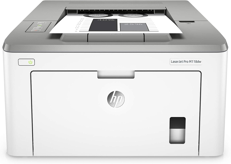 HP M118dw LaserJet Pro Impresora Láser (Impresión a Doble Cara, Wi-Fi, HP Smart, hasta 49 ppm, pantalla LED, USB 2.0), Blanco