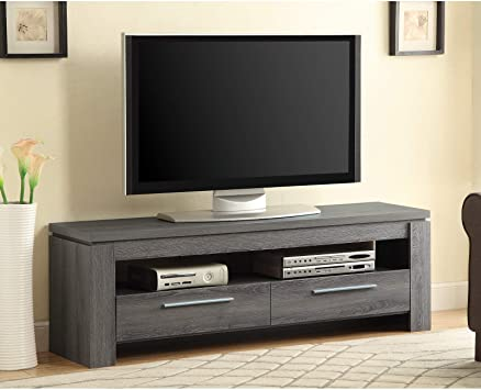 Grey 46 Inch Tv Stand Console Storage Media Tv Cabinet Display Shelf Shelves Unit Living Room Furniture Organizer Entertainment Center Furniture Decor