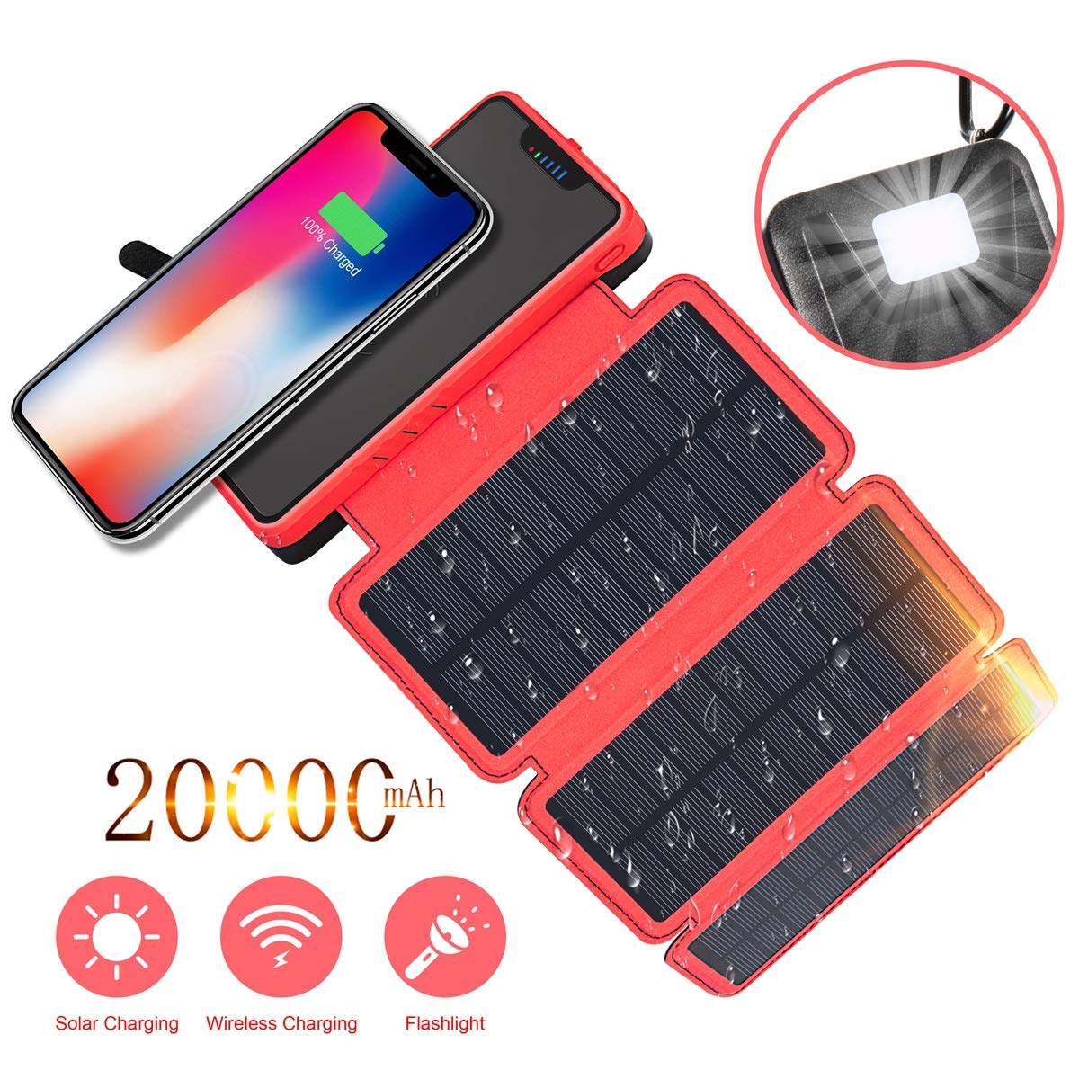 Solar Charger, Soluser 20000mAh Wireless Solar Power Bank Waterproof External Battery Pack with 3 Solar Panels, Dual 2.1A Port, Emergency Flashlight, Portable Phone Charger for Smartphones