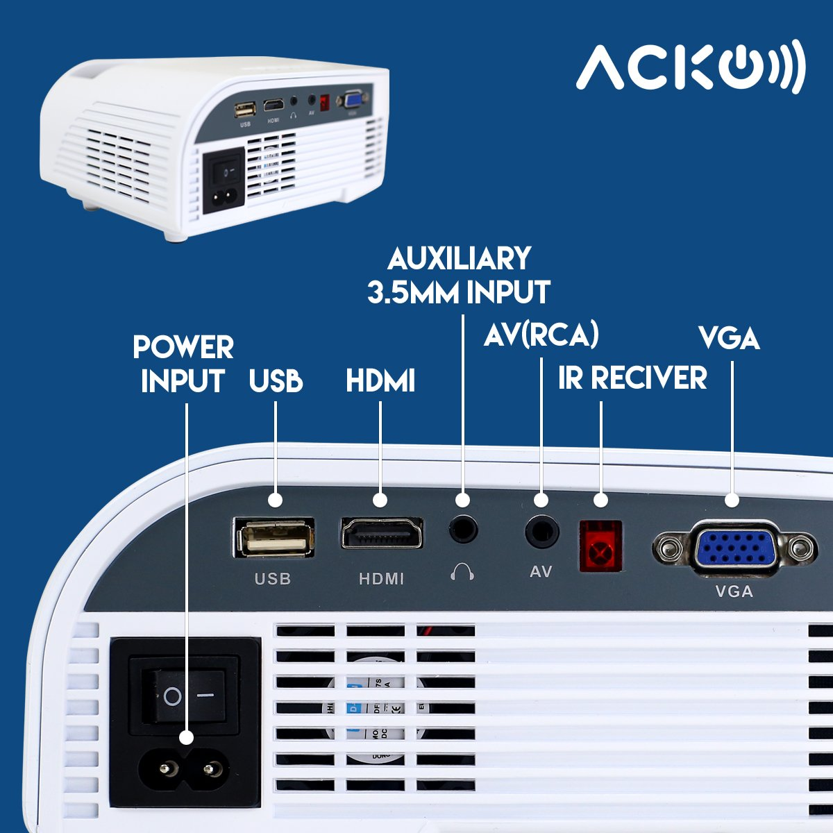Acko Portable Mini HD LED Video Projector Office Home Theater 1200 LM Multimedia Outdoor 20''-150'' HDMI VGA USB AV SD Audio 1080P Smart Phone Tablet PC Computers Laptops White Warranty Included by EpandaHouse (Image #7)