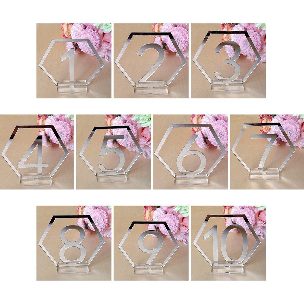 Sitzkarte Aush/öhlen Geometrische 9 cm Anzahl Zeichen Geburtstag Acryl Durable Craft Sechseck Tisch Party Hochzeit Silber 1-10