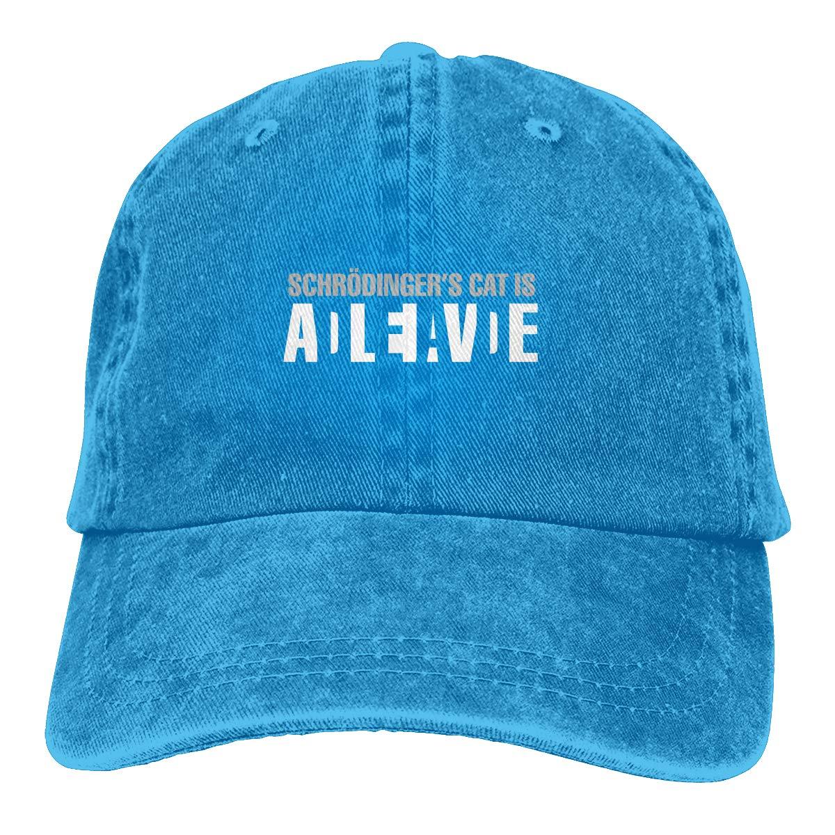 Schrodingers Cat Alive Dead Fashion Adjustable Cowboy Cap Denim Hat for Women and Men