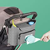 Baby Stroller Organizer - Stroller Accessories Bag Large Space with 2 Cup Holders Multiple Zipper Pockets for Bottle, Diaper,