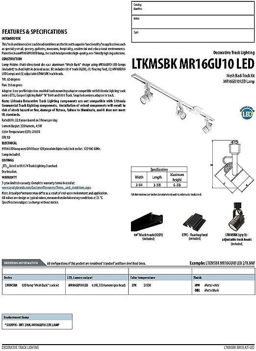 Lithonia Lighting LTKMSBK MR16GU10 3R BN M4 Adjustable Fixed Round  Flush-Mount Halogen Line Voltage Fixed Track, 3 Lamp-round, 480  Lumens/Head, 120 Volts, 50 Watts, Brushed Nickel - - Amazon.comAmazon.com