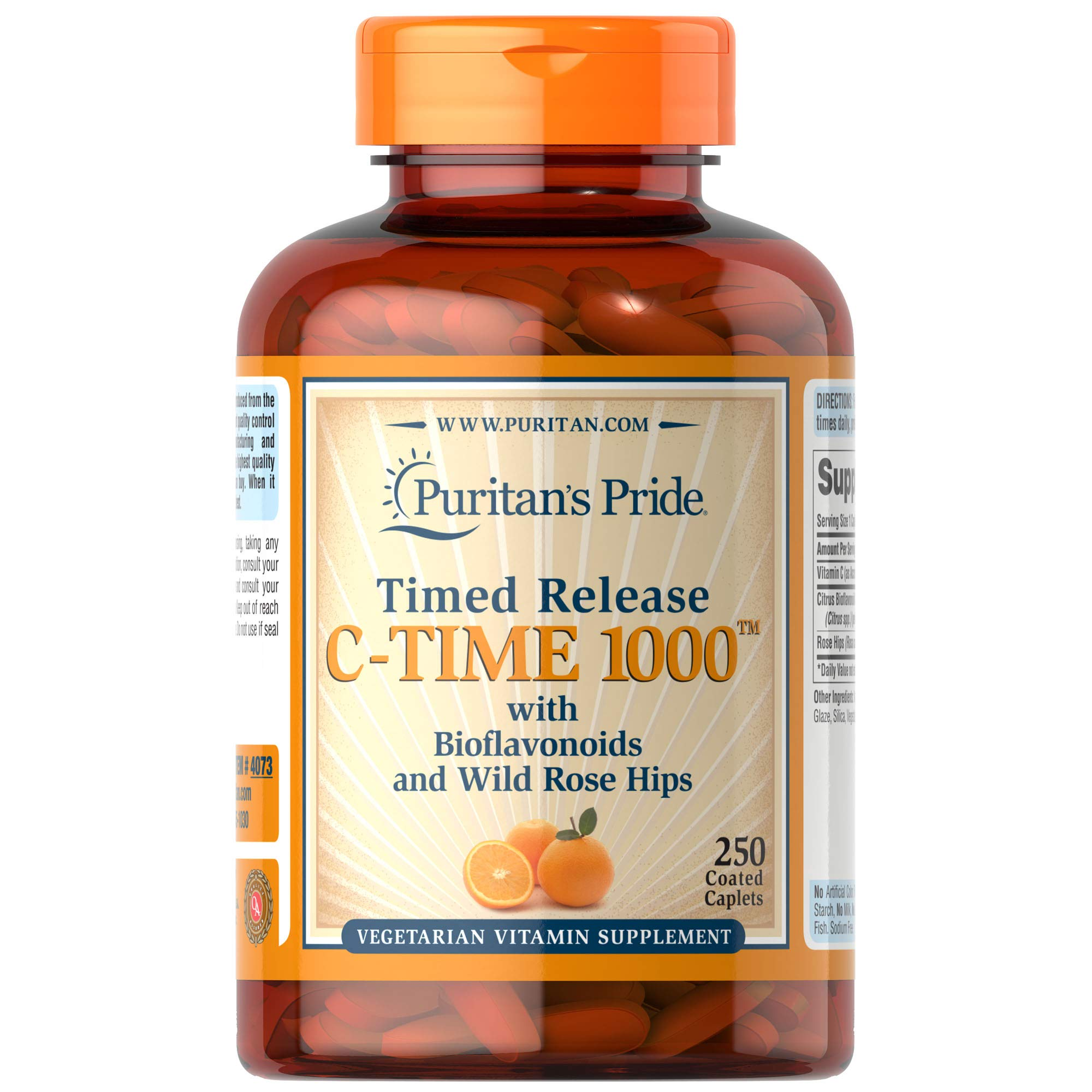 Vitamin C 100mg with Rose Hips for Immune Supports by Puritan's Pride to Support a Healthy Immune System 250 Caplets