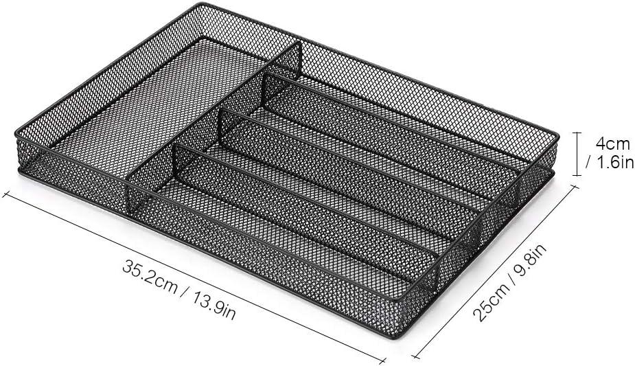 Negro Weehey 5 Compartimentos de Malla Cubiertos de Metal Cubiertos Cubiertos Organizador Tenedores Cucharas Cuchillos Utensilio Canasta de Almacenamiento Organizador de Escritorio