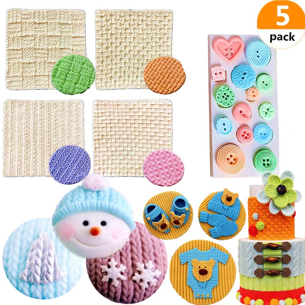 Set of 5 Mini Knitting Sweater Fondant Mold Crochet Texture Cake Decoration Button Impression Mat for Baby Shower Party Cupcake Cake Decoration