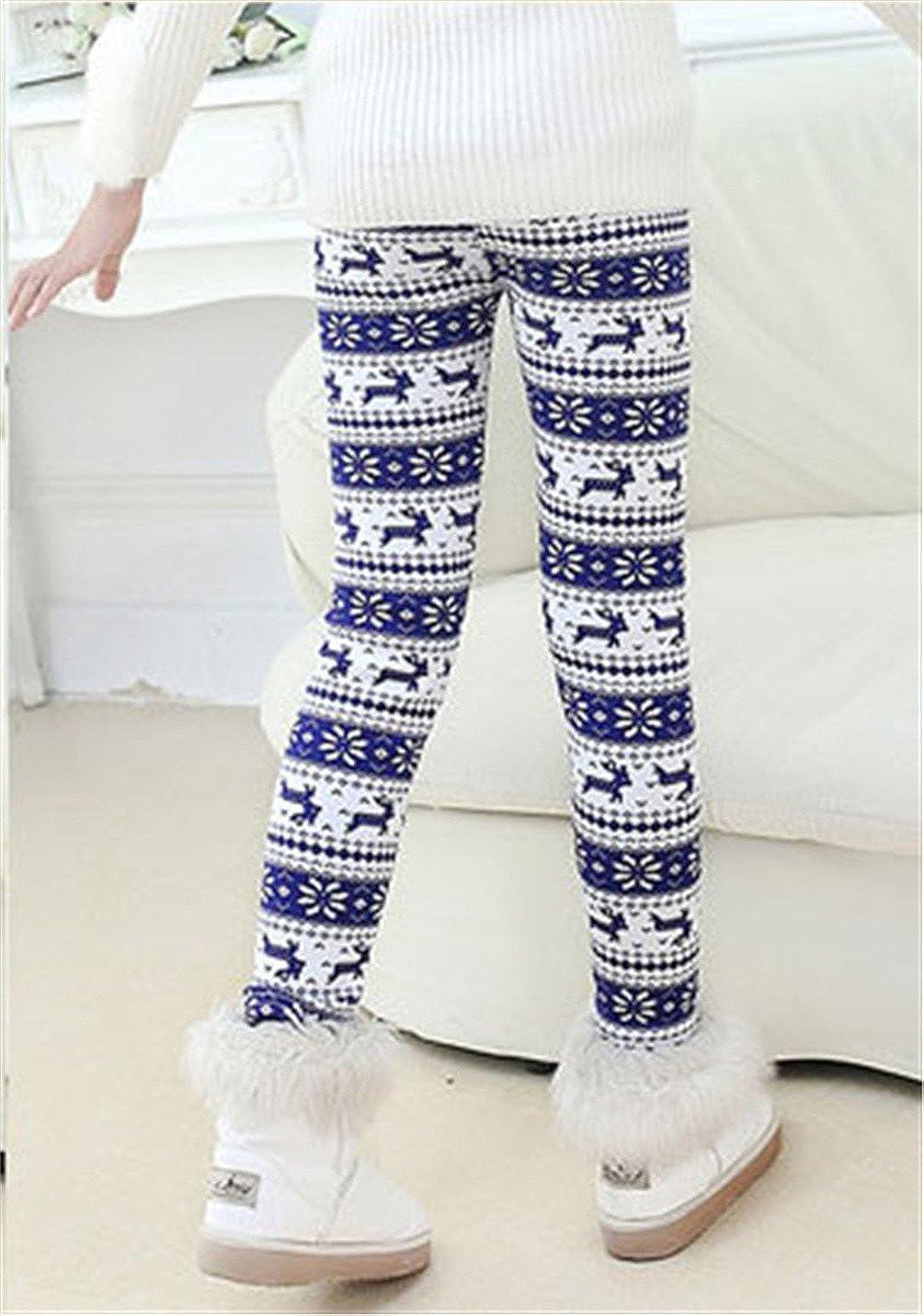 Rysly Girls Winter Thick Warm Long Pants Printing Fleece Lined Leggings 150 Blue elk